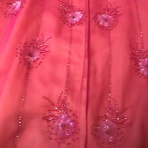 Papell Boutique Dresses - Size 8 pink and citron colored beaded long dress